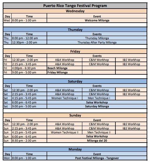 Puerto Rico Tango Festival Agenda 2014